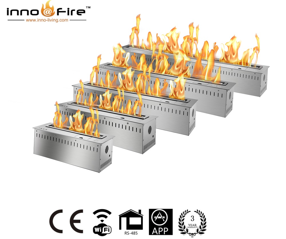 On Sale 36 Inch Electronic  Silver/black Smart Control Bio Ethanol Fire Fireplace