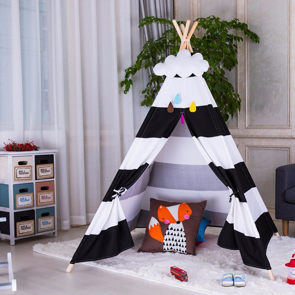 Black Striped Cotton Canvas Teepee Kids Play Tent House Children Tipi Wigwam Indian Tent children tipi canvas cotton indian tent kids play house teepee baby game room playhouse boys and girls teepees toy tent page 6