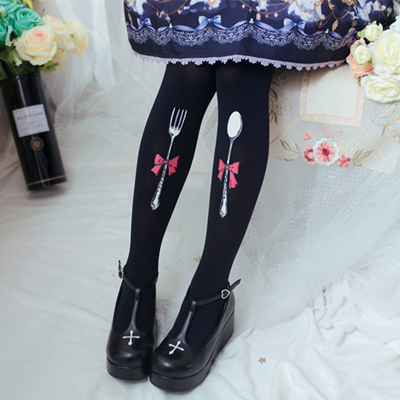 956d1bc1e43 Japanese Sweet Lolita Velvet Tights Folks and Spoon Printed Pantyhose-in  Tights from Underwear   Sleepwears on Aliexpress.com