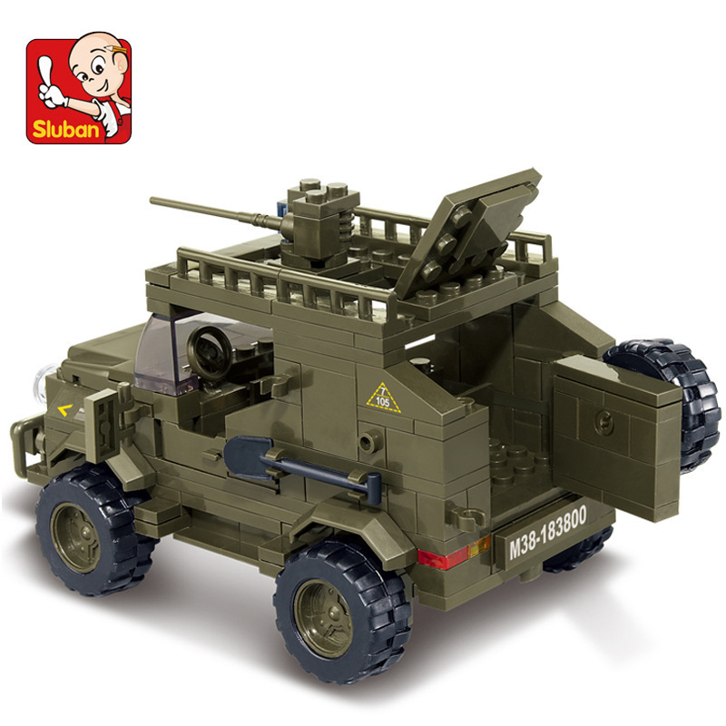 Building Block Sets Compatible with font b lego b font military Army jeep 3D Construction Brick
