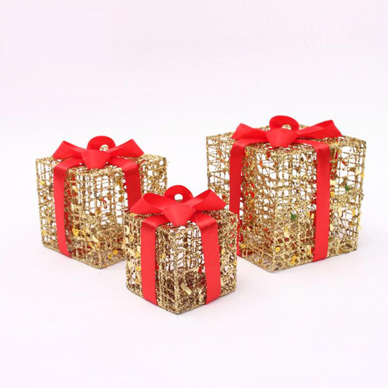 8 10 12cm glitter solid christmas gifts box xmas tree for House decoration products