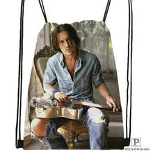 Custom johnny-depp @01-Drawstring Backpack Bag Cute Daypack Kids Satchel (Black Back) 31x40cm#180611-03-123