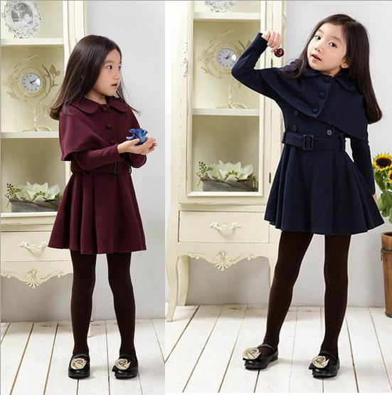 two piece suit girls wool winter coats coat shawl dress trench children outerwear - vivikids Store store