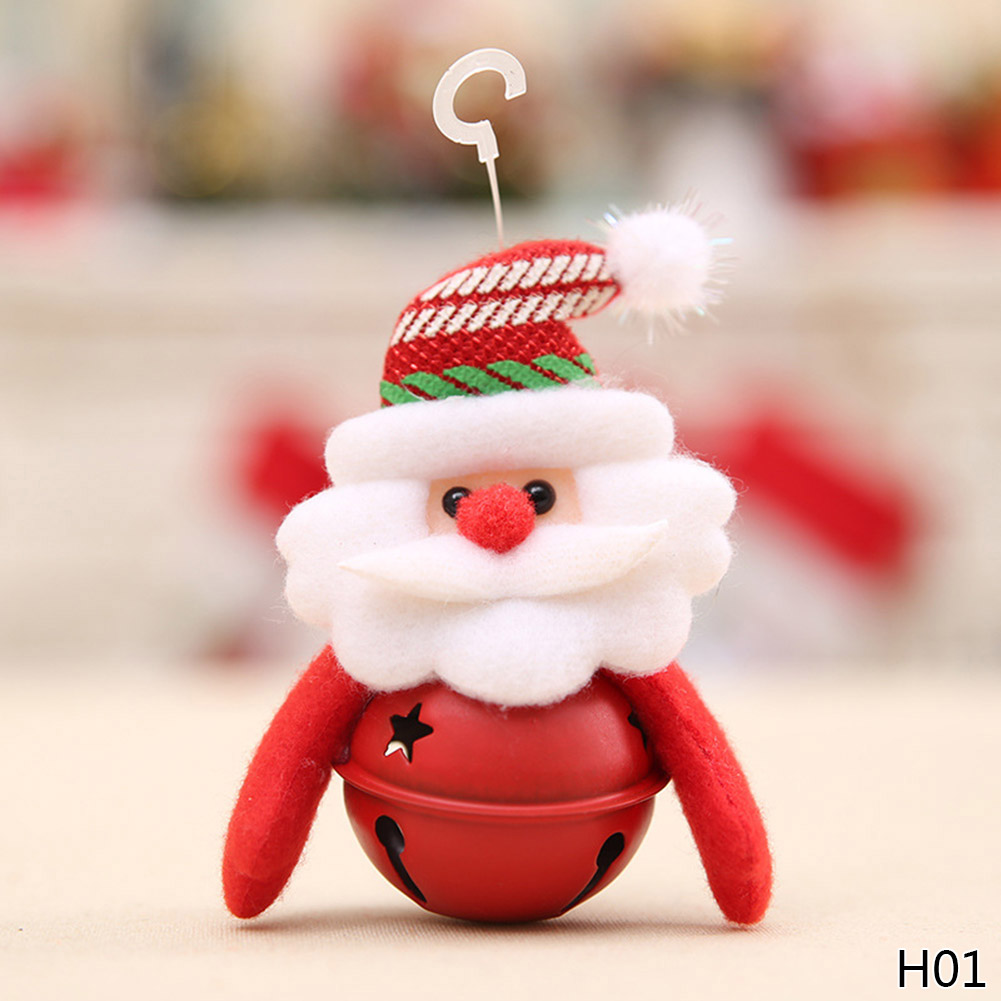 New Year Gifts Santa Claus Jingle Bell Snowman with Jingle Bell Dolls Pendants Christmas Tree Decorations Indoor Ornaments