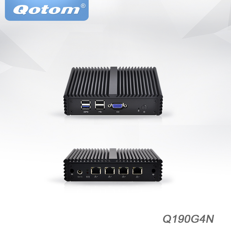 где купить Qotom Mini PC j1900 ,4 lan pfsense firewall Router Thin Client x86 Fanless Industrial Mini Computer дешево