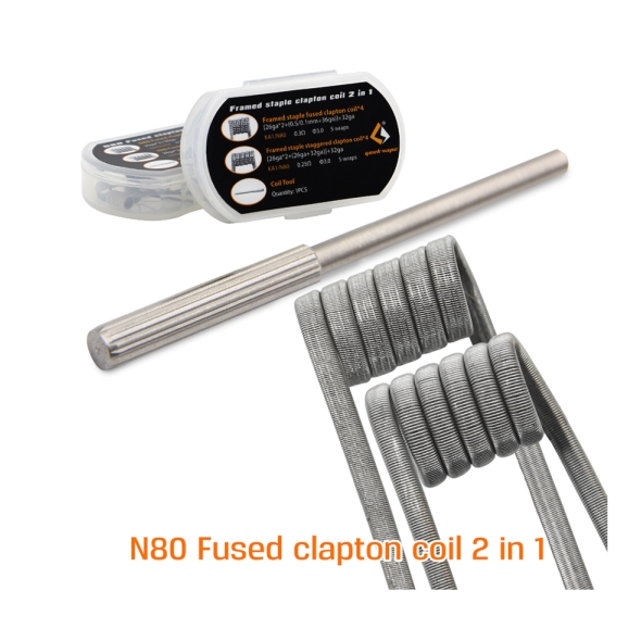 original Geekvape N80 Fused clapton coil 2 in 1 DIY vape electronic cigeratte accessory for ecig RDTA RTA RDA huge vapor original geekvape 6 in 1 coil pack for diy atomizer alien alpha braid fused clapton tidal coil rda rta rdta atomizer coil