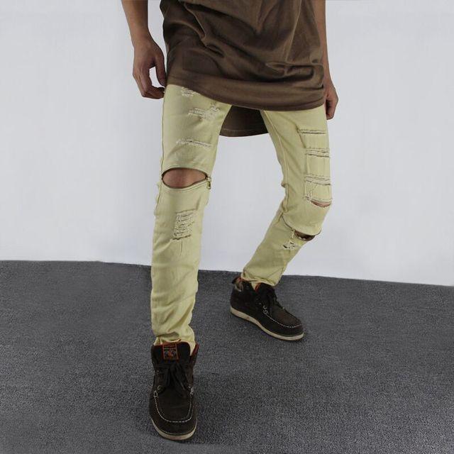 25342ef0bf6655 NEW ripped jeans for men skinny jeans men Distressed slim famous brand  designer biker hip hop swag tyga white black slim jeans