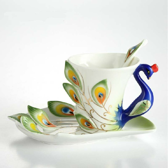 Chinese Ceramic Cup Porcelain Coffee Mug Peacock Design China Tea Set 6 Colors Available Christmas Gift