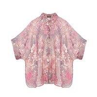 100% Pure Silk Organza Pink Shirt Women Summer Shirt Silk Blouse With Open Shoulders Casacos Feminino Summer Autumn New