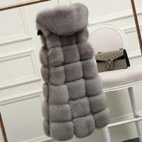 Fur Hood Natural Fox Fur Vest Real Fur Fox Gilet Winter Warm Women Genuine Fox Fur Jacket Outerwear Female Long Waistoats 103103