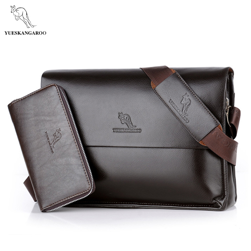 YUES KANGAROO Brand Fashion Leather Crossbody Bag Men Large Capacity Messenger Bags Business Shoulder Designer Handbags Man Bags yues kangaroo brand men bag leather casual high quality shoulder crossbody bags classical business briefcase mens messenger bag