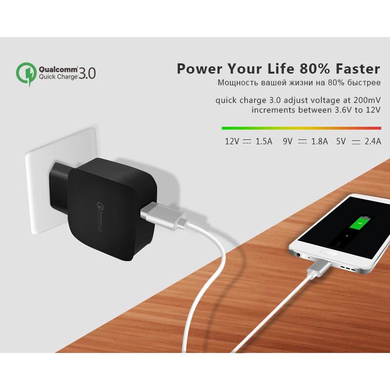 ESVNE EU Plug 2.4A Quick Charge 3.0 (2.0) Wall Wall Charger για - Ανταλλακτικά και αξεσουάρ κινητών τηλεφώνων - Φωτογραφία 3