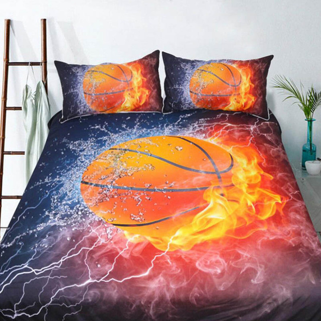 3pcs/lot Basketball Print Queen Comforter Sets Bedding King Twin Size Luxury Bed Cover Duvet Cover Sheet Set Linen Home Textiles