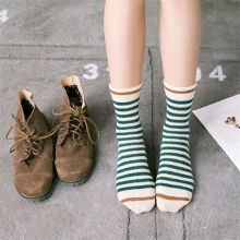 Korean Striped Knitting Long Socks Winter Fall Novelty Pinstripe Warm Thermal Cotton Socks For Women Men