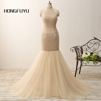 High Quality Real Photo Mermaid Halter Beading Long Prom Dresses 2016 Tulle Open Back Floor Length