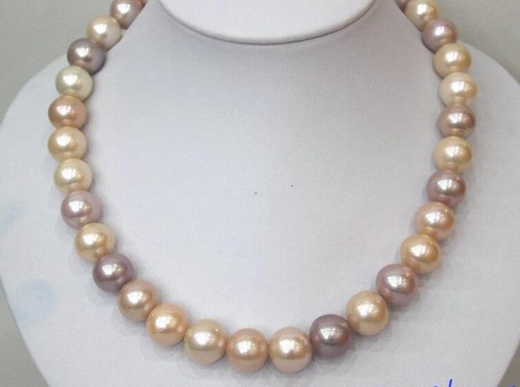 LIVRAISON gratuite Grand D'eau Douce perle collier Multi-couleurs 12mm-14mm