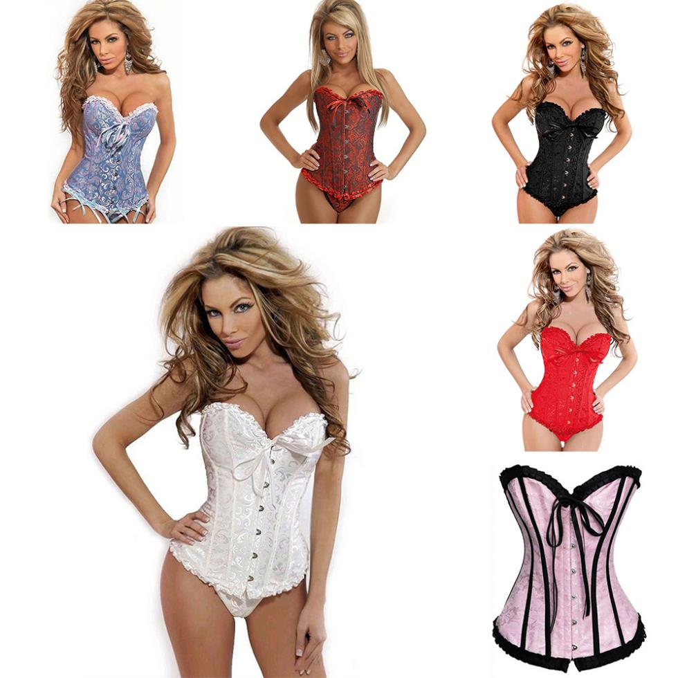 24488ba6fa8 Women Sexy Satin Corset Brocade Floral Bustier Top Lace Up Back ...