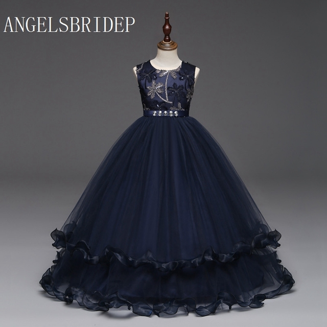 7a2269b70 ANGELSBRIDEP flower girl dresses navy blue burgundy strapless tulle first  communion dresses for girls with embroidery bodice