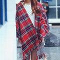 200*190cm Big Size Women Autumn Winter Tartan Plaid Scarf New Designer Thickened Cotton Basic Shawls Women Warm Muffler Scarves