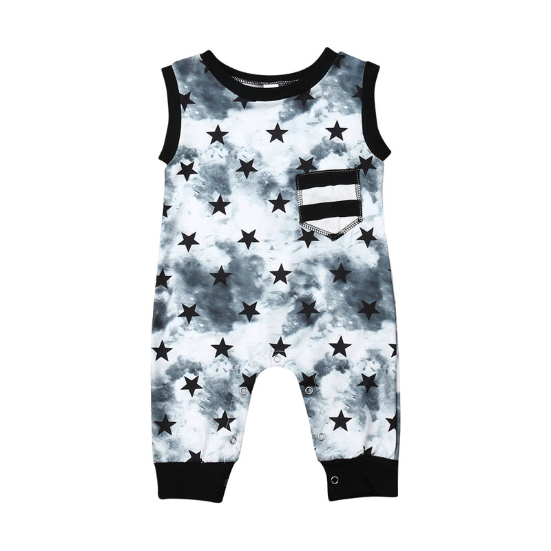 Focusnorm Newborn Baby Boy Stars   Romper   Sleeveless Fashion Jumpsuit Playsuit Outfit Clothes 0-2Years