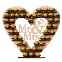 Wooden Heart Decoration Mr & Mrs Heart Chocolate Dessert Display Stand Holder Wedding Party Decor 2O0405