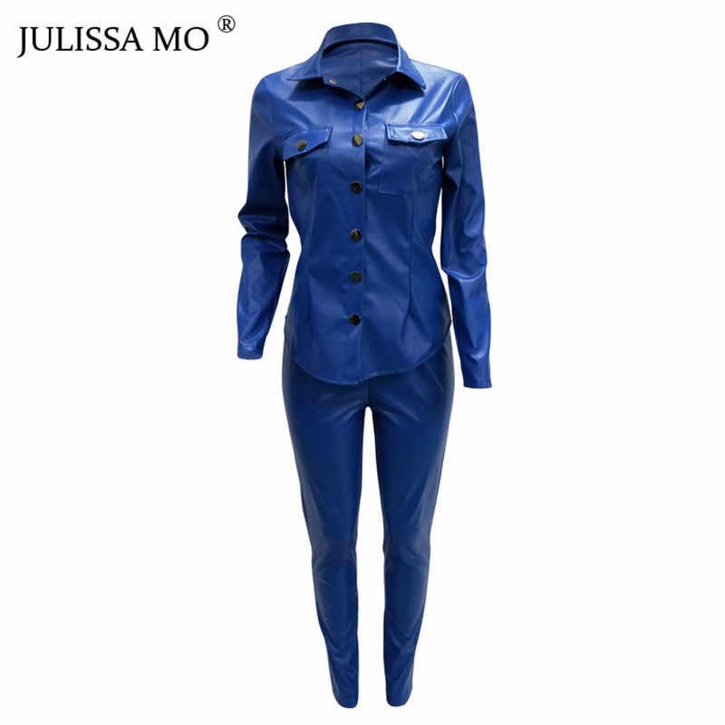 Juego de 2 piezas para mujer, traje de chándal de cuero PU, camiseta de manga larga de cintura alta + Pantalones Casual botón mono trajes