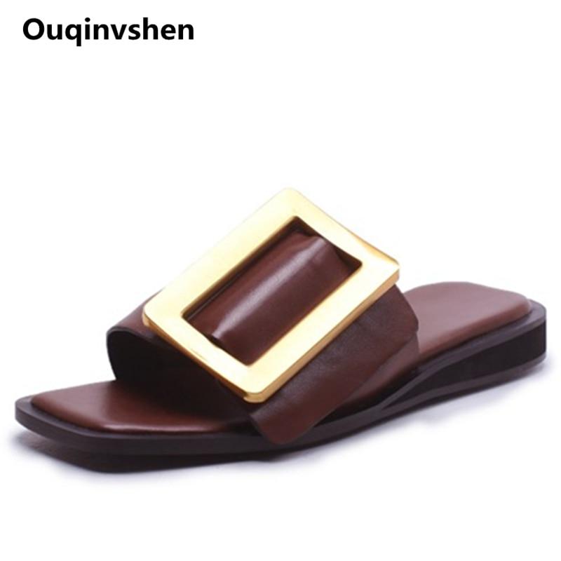 Ouqinvshen Buckle Strap Flats Schoenen Dames Plus Size 34-43 Echt - Damesschoenen
