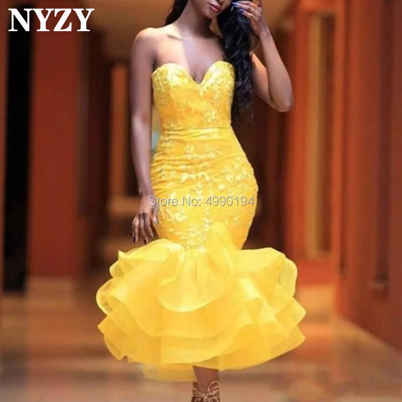 Africa Arabic Evening Dress 2019 NYZY E171 Yellow Organza Ruffles Mermaid Evening Gown Robe De Soiree Courte Vestidos De Gala