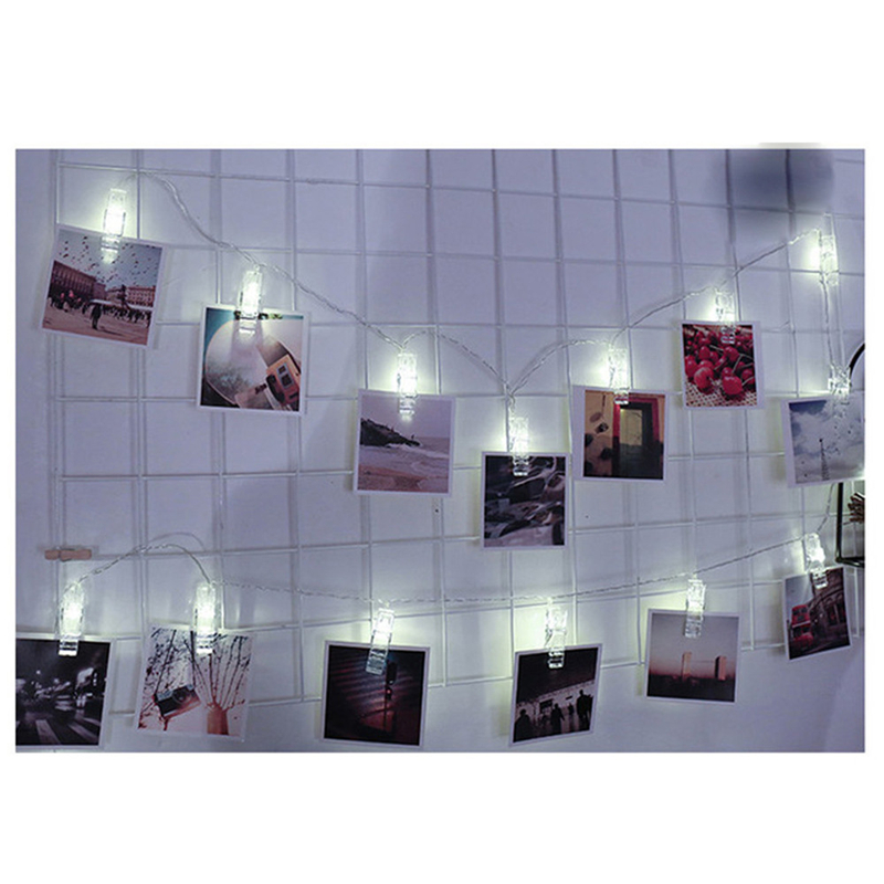 New White 10 LED 1.5M Hanging Card Picture Clips Photo Pegs String Light Lamp Indoor Decor Christmas Wedding Home Decor Lights hanging paper fan decoration wedding birthday christmas decor party events decor home decor supplies flavor