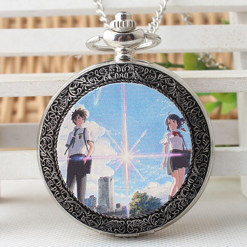 Male and female student trend Japanese-style quartz pocket watch animation your name fashion Arabic numerals flip table european and american movies aladdin and the magic lamp quartz pocket watch do the old flip quartz watch chain table ds274