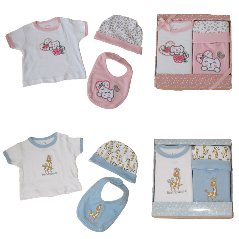 Big Sale Baby Gift Set Infant Boys Girls 3pcs Clothing Sets Bebe Cartoon Cat/Giraffe Cotton T Shirt+Hat+Bib Outfit Costumes