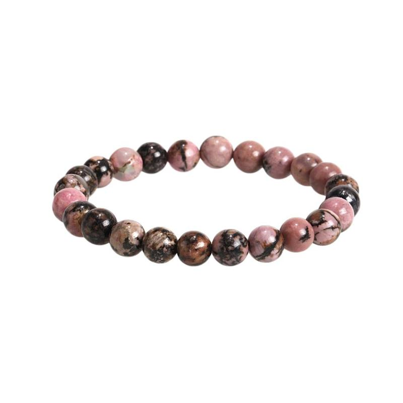 Men Women Natural Stone bracelet 8mm Black Onyx Rhodonite Rose Quartzs Beads Wrist Stackable Mala Mens Bracelets 2019 in Chain Link Bracelets from Jewelry Accessories