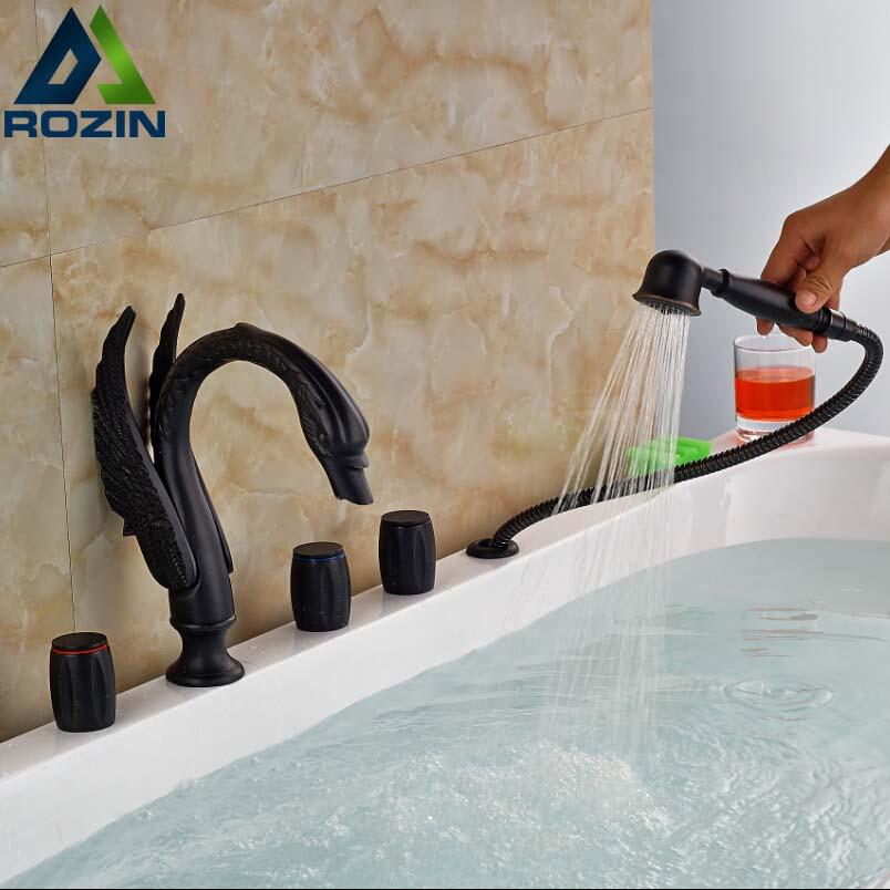 Oil Rubbed Bronze Widespread Dragon Bathtub Mixers Faucet Three Handles with Handshower Deck Mount