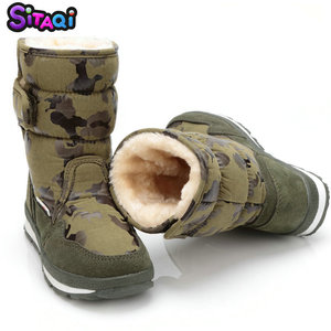 Image 4 - Boys shoes boots camouflage winter style full plus size 27 to 41 snow boot antiskid sole children warm thick fur free shipping