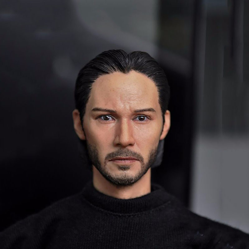 "1/6 Scale Keanu Reeves John Wick Mans Head Sculpt Model Toys For 12"" Action Figure Body Accessory"
