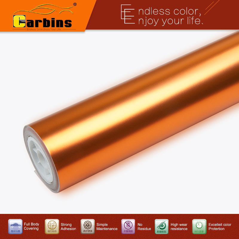 Metallic stretching chrome satin colour orange vinyl car wrap sticker