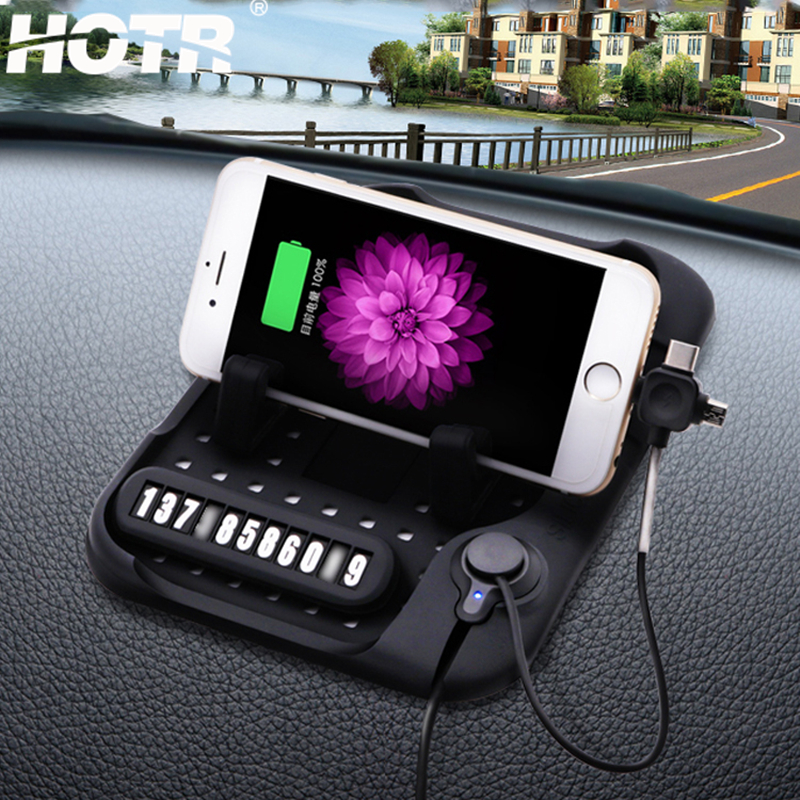 Galleria fotografica HOTR Non-slip Silicone Pad Car Phone Holder Android/IOS/Type C USB Magnetic Charging Base Holder GPS Stand Mount Car Holder