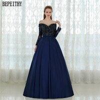 Hot Sale Vestido De Festa Longo Beaded Ball Gown Lace Prom Dresses Satin Long Sleeves Evening
