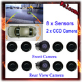 New Dual Channel Video Car Parking Sensors Reverse Radar System 8 Sensor with Front & Rear view Camera For Parking Assist