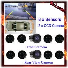 Новый Двухканальной Видео Автомобилей Датчики Парковки Обратный Радиолокатор Системы 8 Датчик с Передние и Камера заднего вида Для Парковки помочь