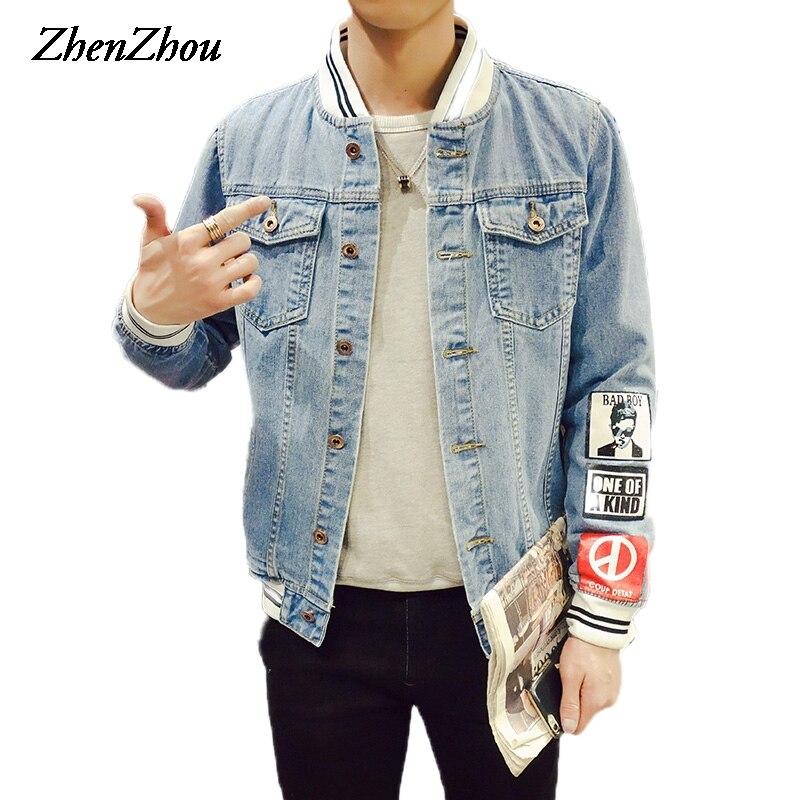 ZhenZhou S-5XL Denim Stand Collar Jeans Jacket Men JC46 Bomber Jacket Men Veste Homme Mens Jackets 2018