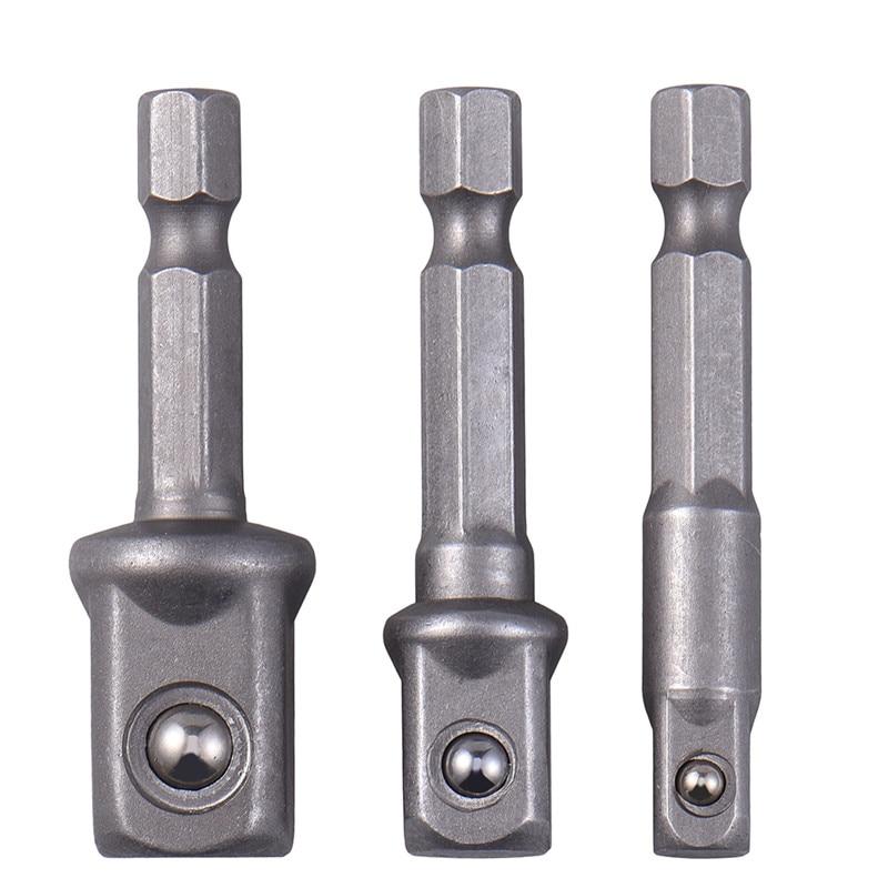 New 3pcs/set Chrome Vanadium Steel Socket Adapter Hex Shank To 1/4