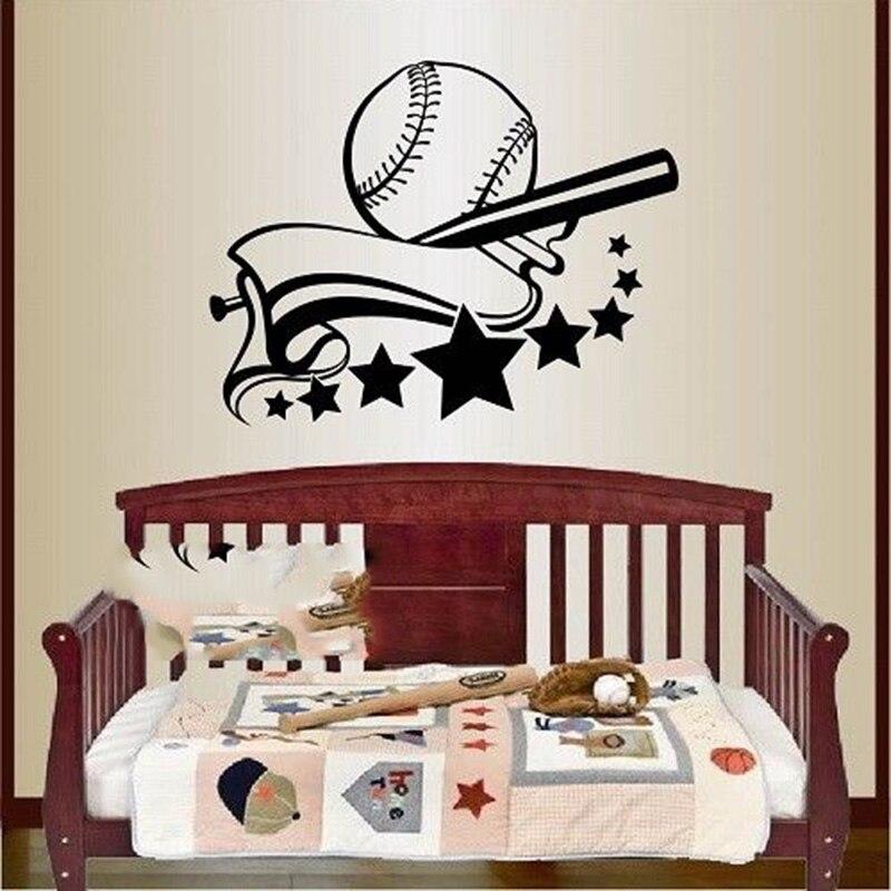 Виниловая наклейка Софтбол Бейсбол логотип плеер битой мяч Спорт стены Книги по искусству Стикеры