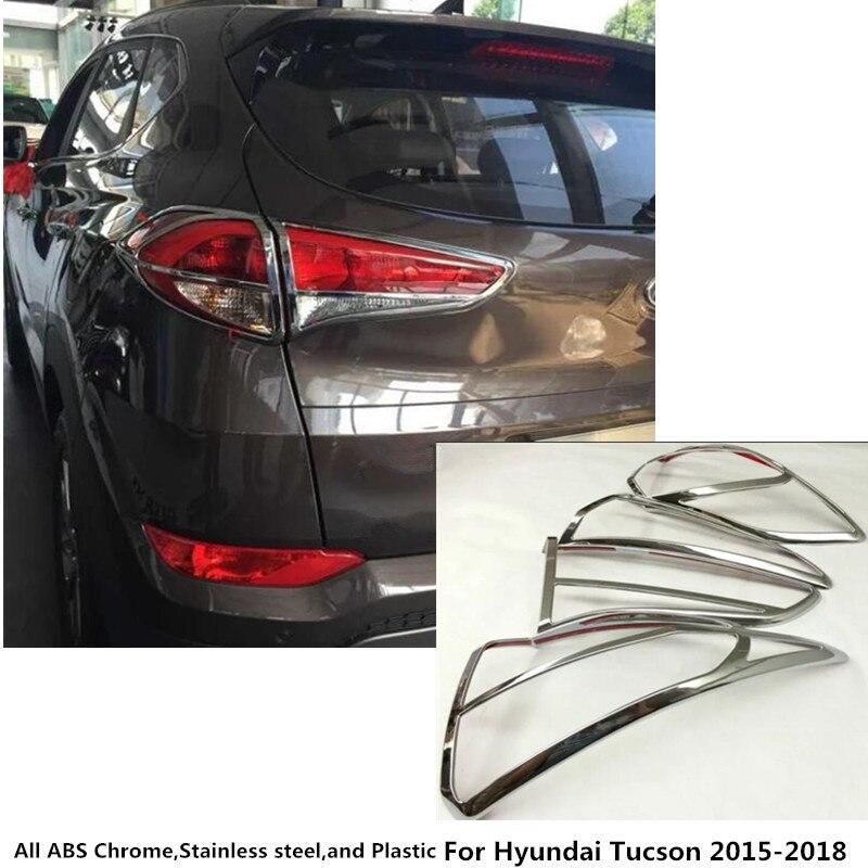 Top Pour Hyundai Tucson 2015 2016 2017 2018 voiture style de carrosserie arrière tail back Light lampe cadre bâton chrome ABS cover version 4 pcs