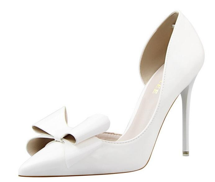 {D&H}Brand Women Shoes High Heels Women's Pumps Bow Two Piece Thin Heel Wedding Shoes Valentine Shoes White zapatos mujer 26