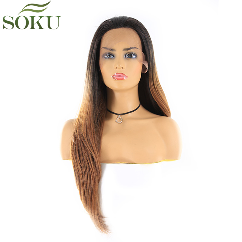 T1B/30 Synthetic Free Part 13*4 Lace Front Wigs SOKU 150% Density 26 Inch Straight Wig Heat Resistant Fiber Wig For Women