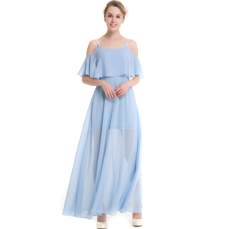 Women's Clothing Newest Sweet Fashion Slim Large Swing Dress Summer Beach A-line Solid Color Sleeveless Floor-length Dress Xhsd-001-102 Crazy Price