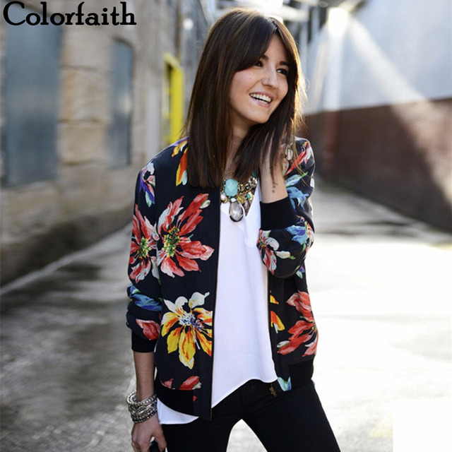 New Floral Printed Patchwork Zipper Coats & Jackets Women color: as picture