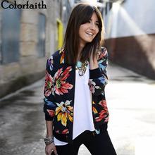 Wyprzedaż! Wyprzedaż kurtki damskie 2017 jesienno-zimowa nowe modne damskie kwiatowe drukowane patchworkowy zamek błyskawiczny kurtki okazjonalne znosić JK002 tanie tanio Kobiety Kurtki płaszcze Poliester Streetwear Zamki Pełna REGULAR Floral O-neck zipper Colorfaith Fashion