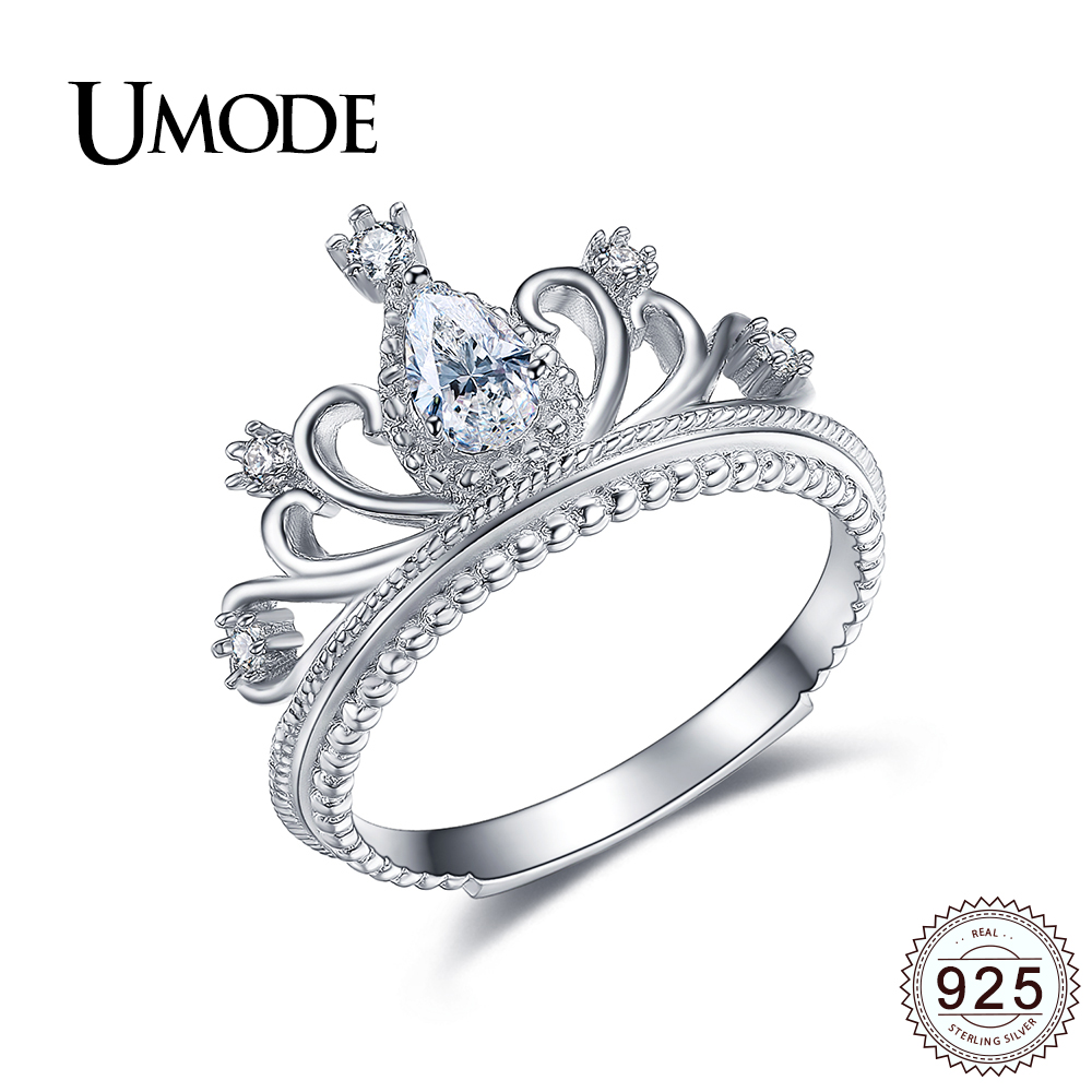 UMODE 925 Sterling Silver Crown Rings for Women Wedding Jewelry Luxury Princess CZ Wedding Bands Bijoux Bague Femme Gift ULR0337 fashion party jewelry rings for women gold color cz snake dames ringen design christmas gift bague femme open rings ka0167